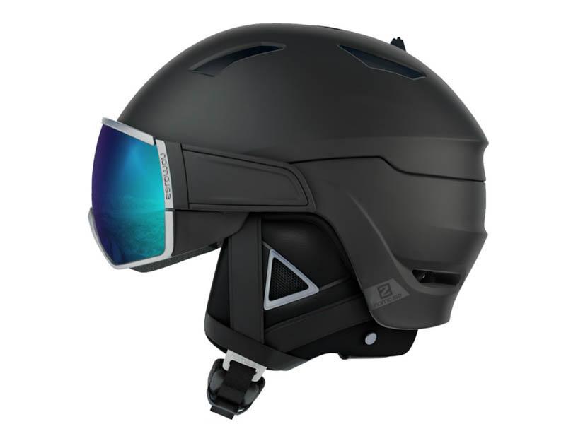 Kask narciarski z przyłbicą szybą SALOMON DRIVER+ Black Silver Solar 2020