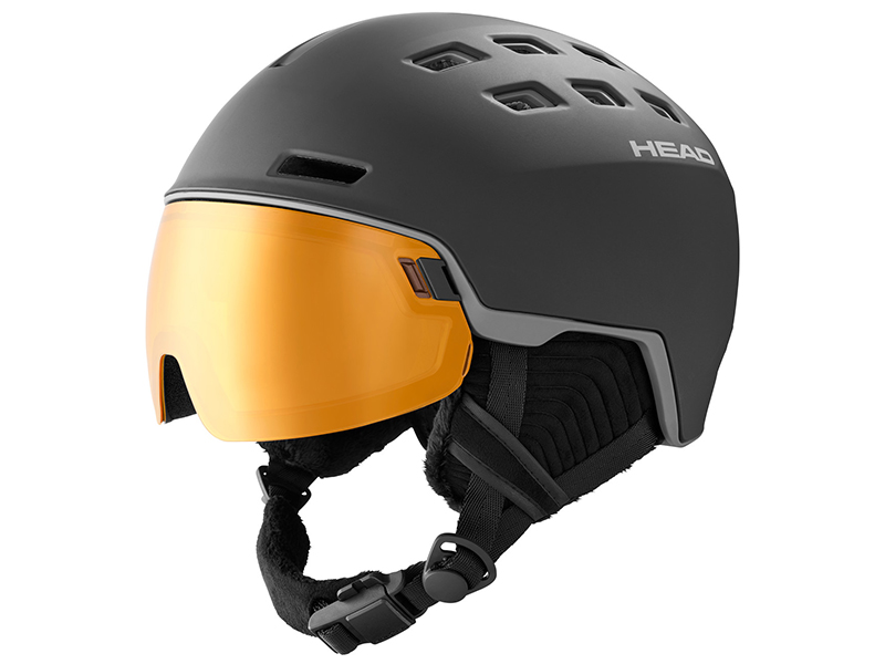 Kask narciarski z przyłbicą szybą HEAD Radar Pola Black POLARYZACJA 2021