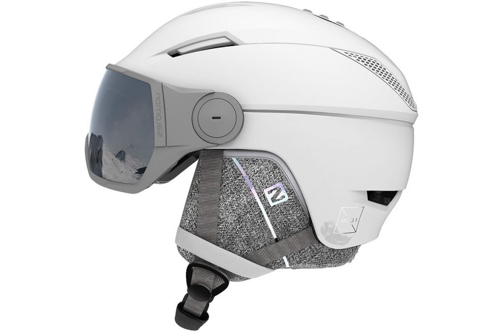 Kask narciarski damski biały z przyłbicą szybą SALOMON ICON2 VISOR WHITE/Univ Silver 2021